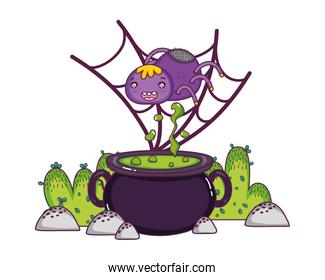spider character in the spiderweb with pot cauldron