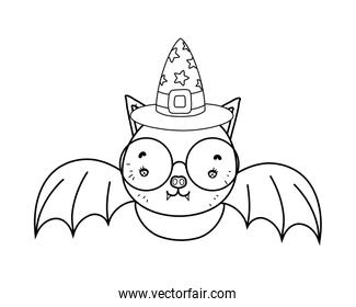 outline bat wearing glasses with witch hat