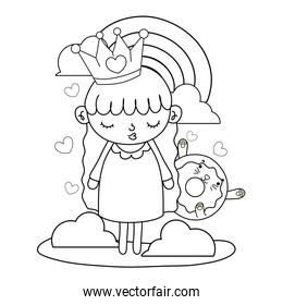 outline girl with crown and kawaii cat donut