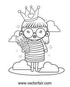 outline girl with crown and kawaii cat ice cream
