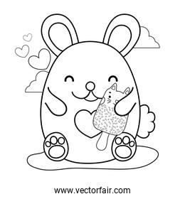 outline happy mouse and kawaii cat ice lolly