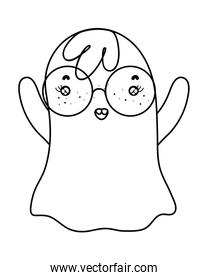 outline funny ghost character wearing glasses