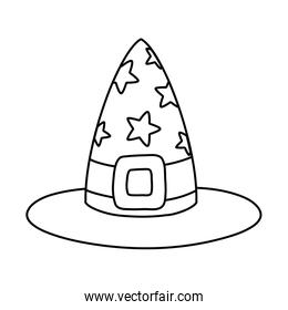 outline witch hat with stars and ribbon style