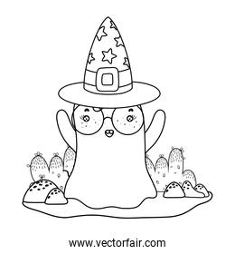 outline ghost wearing glasses with witch hat in the landscape