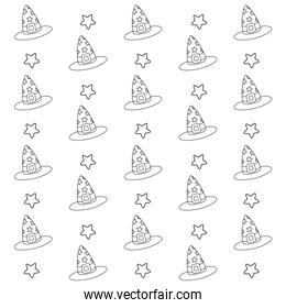 outline witch hat with ribbon and star background