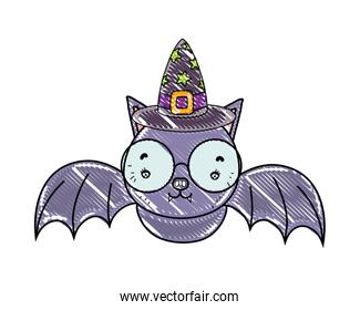 grated bat wearing glasses with witch hat