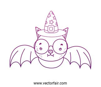 degraded outline bat wearing glasses with witch hat