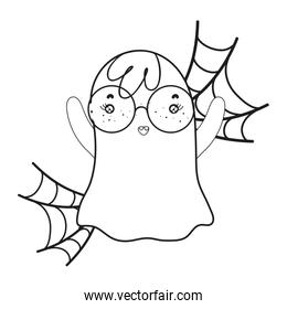 outline ghost wearing glasses with spiderweb style