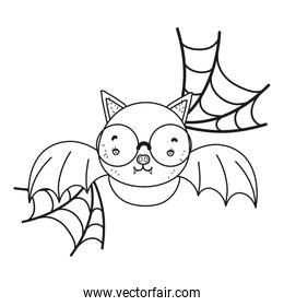 outline bat flying wearing glasses and spiderweb