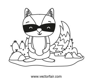 outline happy raccoon wild animal in the landscape