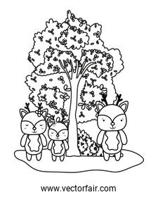 outline deers friends wild animals and tree