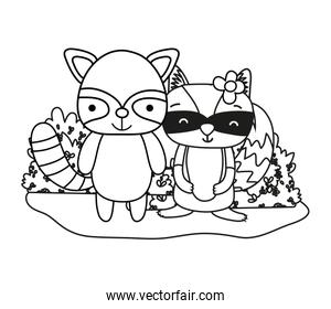 outline cute raccoons friends animals and bushes