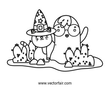 outline cute cat with hat and ghost wearing glasses