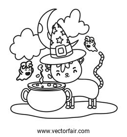 outline cat wearing hat with pot cauldron and ghost