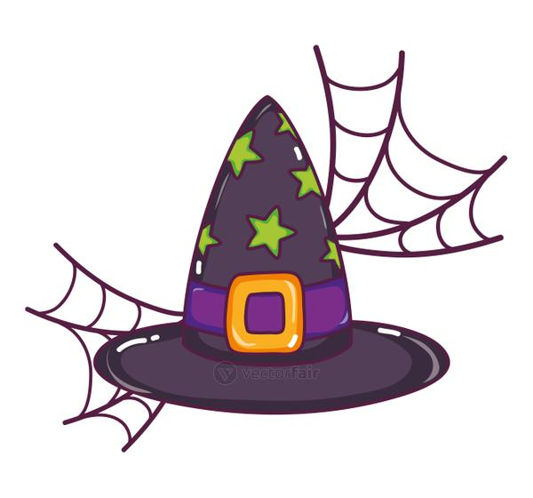 witch hat with stars style and spiderweb