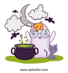 ghost wearing glasses and pot cauldron with bats