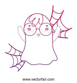 degraded outline ghost wearing glasses with spiderweb style