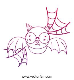 degraded outline bat flying wearing glasses and spiderweb