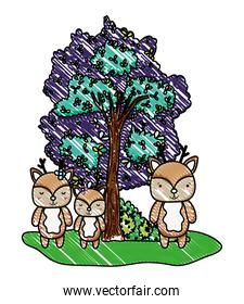 grated deers friends wild animals and tree