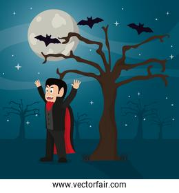 scary vampire with suit and tree with bats