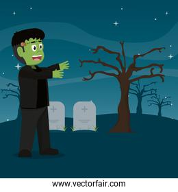 frankenstein monster in the cemetery with stones tablets