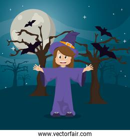 happy witch wearing hat and tree with bats
