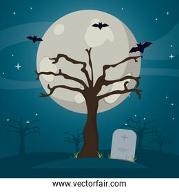 tree with bats and stone tablet in the cemetery