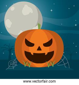 bad pumpkin with spiderweb and moon in the forest
