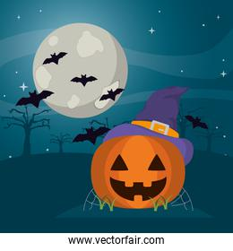 happy pumpkin wearing witch hat and bats