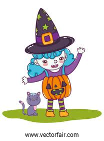 pumpkin girl costume wearing hat with cat