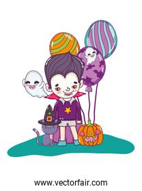 boy with vampire costume and ghosts with pumpkin