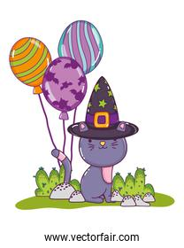 nice cat with witch hat and balloons