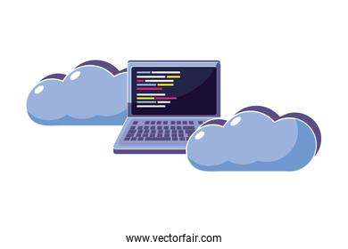data cloud with laptop and code programming