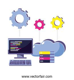 computer programming code and cloud data with gears