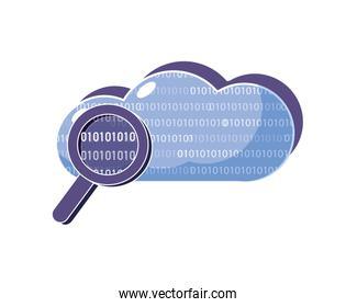 cloud data and magnifying glass with programming code