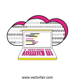 data cloud and lapto with programming code