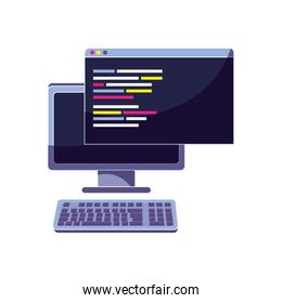computer and website with programming data code