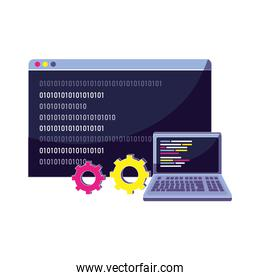 laptop and website with data program code