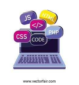 laptop with data code system program