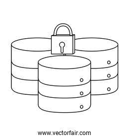outline data network server and closed padlock