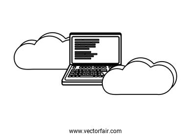 outline data cloud with laptop and code programming