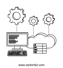 outline computer programming code and cloud data with gears