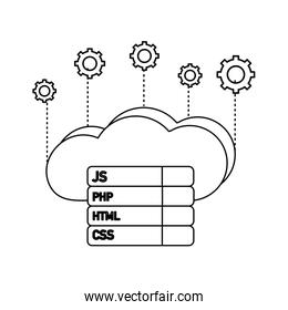 outline cloud data with gears and programming code