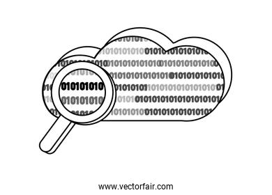 outline cloud data and magnifying glass with programming code