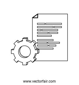 outline document with programming code and industry gear