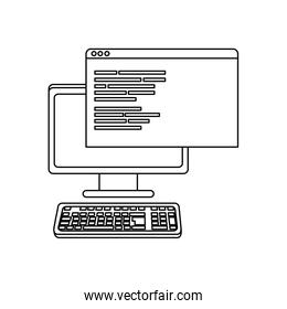 outline computer and website with programming data code