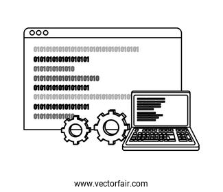 outline laptop and website with data program code