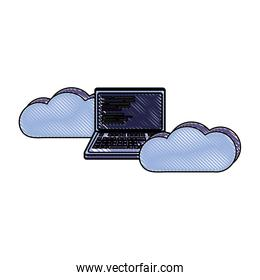 grated data cloud with laptop and code programming