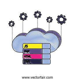 grated cloud data with gears and programming code