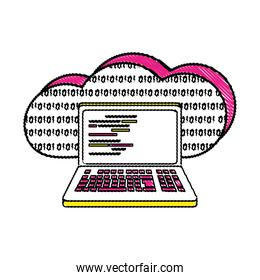 grated data cloud and laptop with programming code